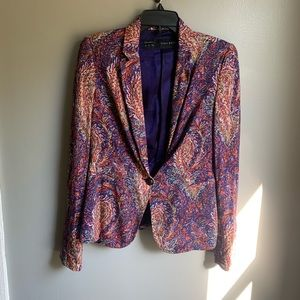 Zara Paisley Print Single Button Blazer Large
